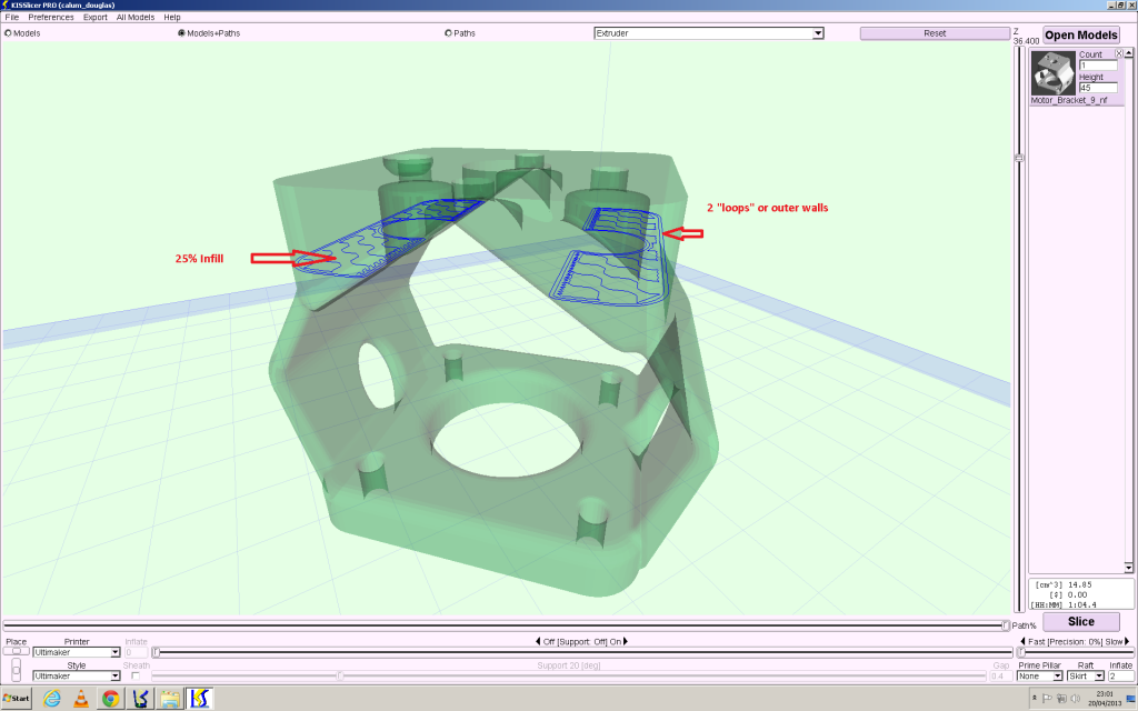 Describing whats shown in the toolpath view
